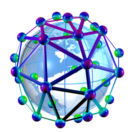 Illustration of Earth surrounded by carbon nantube, representing its potentially global future in nanotechnology illustration