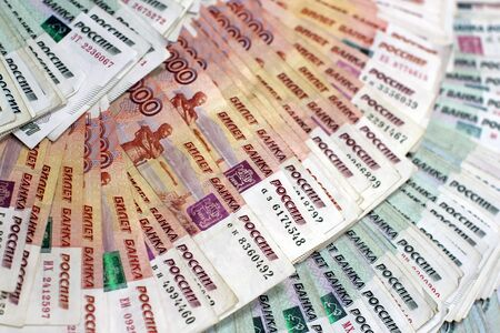 Russian money, Russian banknotes Banque d'images