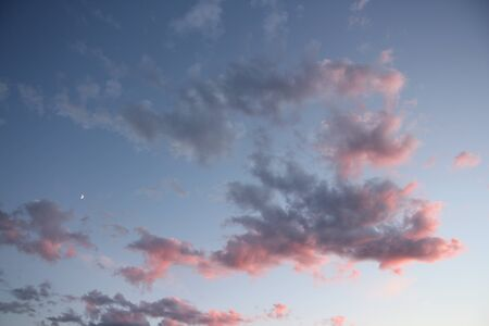 Beautiful gray and pink clouds at sunset.
