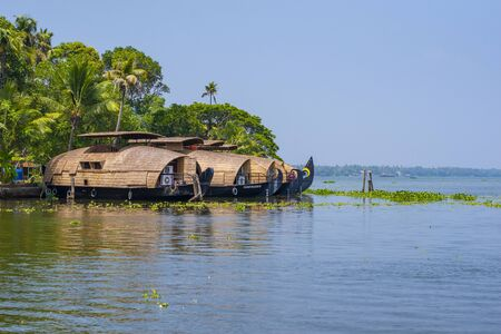 Boathouse of Kerala backwaters during summer