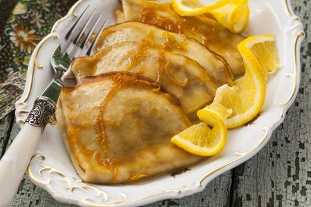 Pancake Crepe Suzette with orange sauce and liqueur