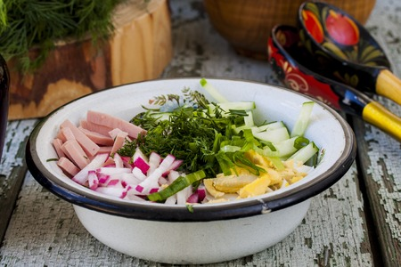 cold soup: Okroshka - Russian kvass Cold Soup with Vegetables Stock Photo