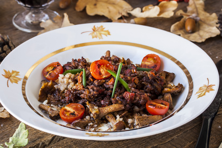 bolognese sauce: buckwheat with Bolognese sauce, mushrooms, cherry tomatoes Stock Photo