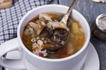 giblets: soup with chicken giblets vegetables and rice Stock Photo