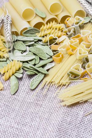 italian pasta: Variety of types and shapes of Italian pasta. Dry pasta background Stock Photo