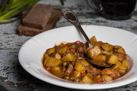 irish easter: Portion of traditional irish beef and beer stew with carrots and potato