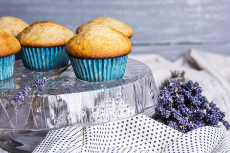 muffin: Homemade banana muffins on the wooden table Stock Photo