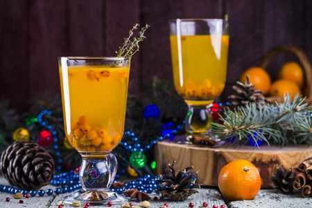 seabuckthorn: hot berry tea with a fresh sea-buckthorn Stock Photo
