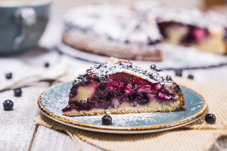 Piece of blueberry pie with powdered sugar on light background