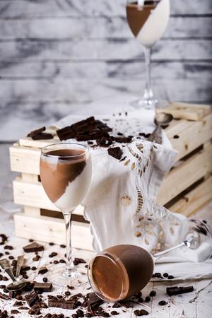 jelly beans: Chocolate and vanilla panna cotta