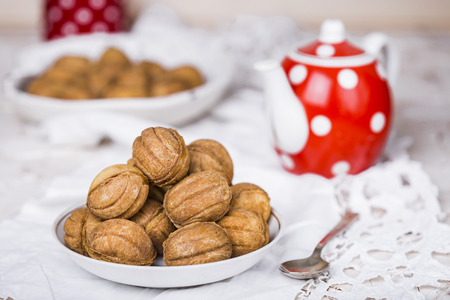 condensed: Cookies nuts with condensed milk and nuts