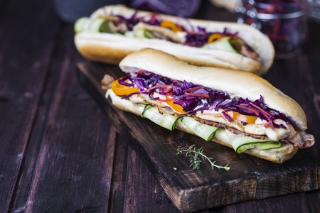 Fresh and tasty sandwich with chicken and red cabbage