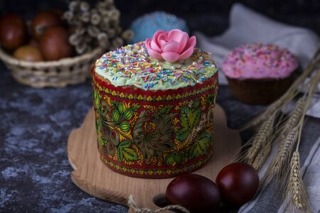 Easter cake with branches of willow Stock Photo