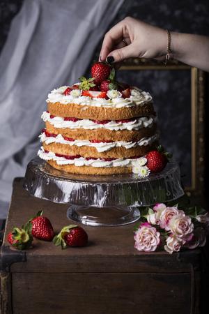Angel Food Cake With Fresh Berries Stock Photo