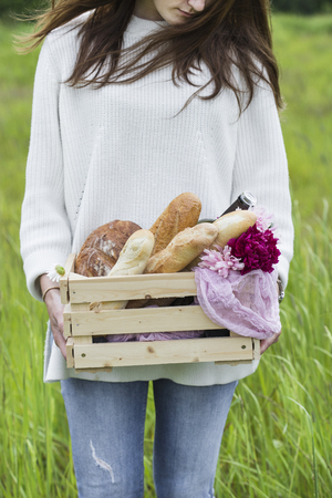 breadbasket: a box of bread Stock Photo