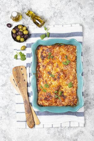 Italian traditional dish lasagna with tomato sause, beef