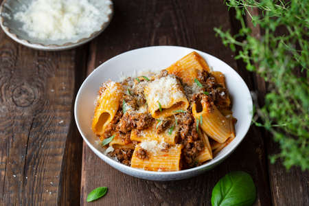 rigatoni Pasta with Bolognese Sauce, Parmesan and Basil