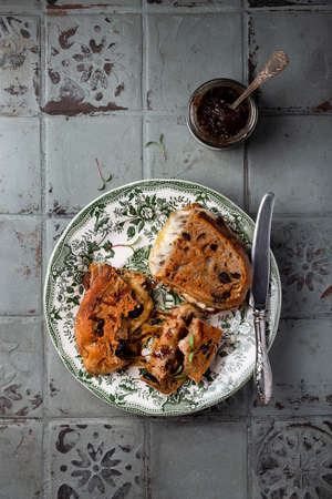 Homemade balsamic caramelized onion and cheese sandwich Reklamní fotografie