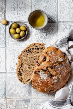 whole grain Mediterranean bread with olives and oregano Reklamní fotografie