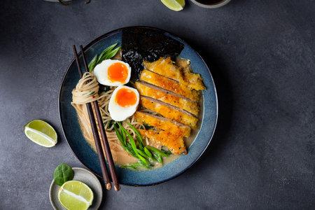 ramen soup with chicken, egg, and noodles Reklamní fotografie