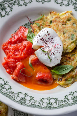 potato pancakes with smoked salmon and poached egg