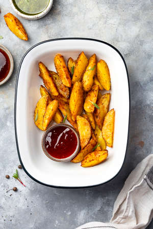 Fried Country style Potato wedges with spices and salt