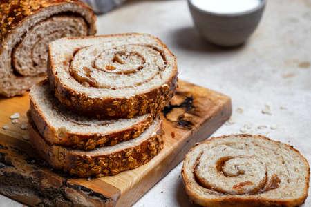 homemade cinnamon swirl raisin and nut bread