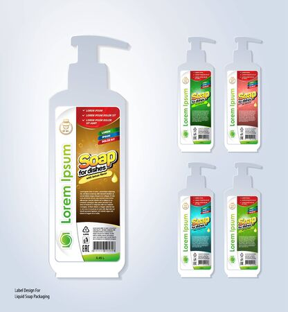 label template design for bottles with liquid soap. 5 Stylistic solutions