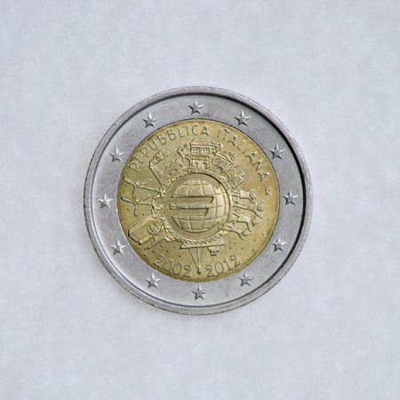 bimetallic: COIN 2 EURO COMMEMORATIVE OF THE ITALIAN REPUBLIC OF 10 YEARS OF INTRODUCING THE SINGLE EUROPEAN CURRENCY