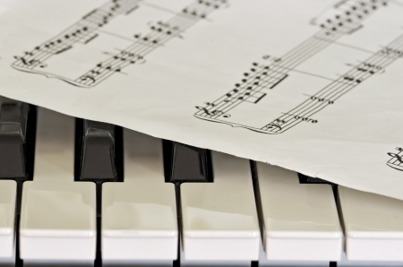 musical score: PORTION OF A MUSICAL SCORE ON THE KEYS OF A PLAYER-PIANO Stock Photo