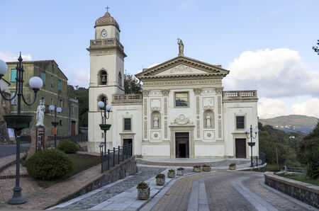 cz: facade decorated with stucco of the church of St. Mary of the Principle (called the Rosary) in Miglierina (CZ) Italy