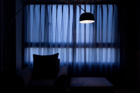 a light beside Window curtains with table shadow Stock Photo - 8874163