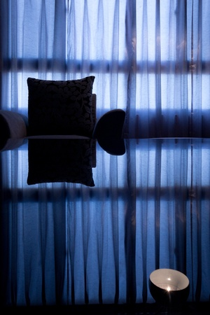Window curtains with table shadow Stock Photo - 8874158