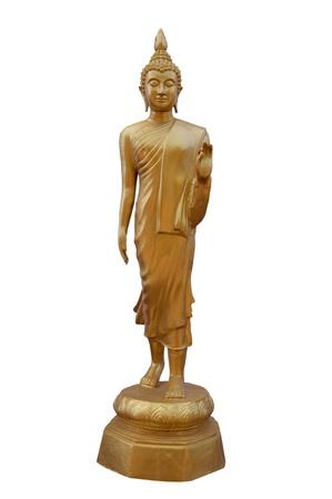 cabeza de buda: Buda tiene una posici�n de fondo blanco Foto de archivo