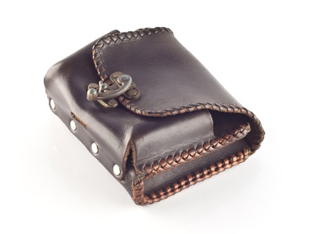 His wallet made   of leather on a white background  photo