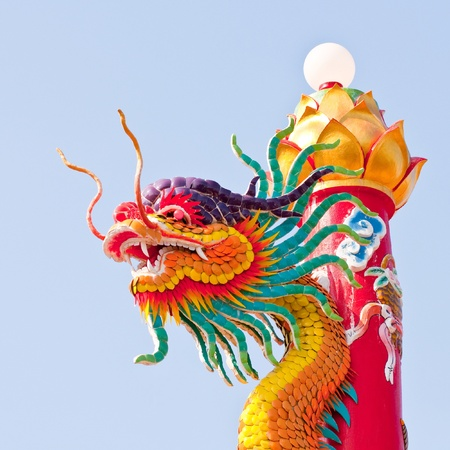Chinese dragon statues around the pole  photo