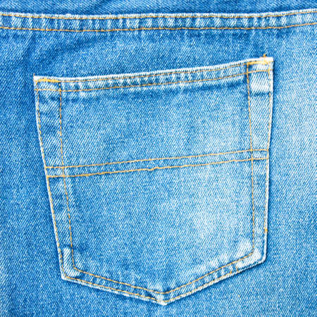 Check back pocket jeans blue on a white background.