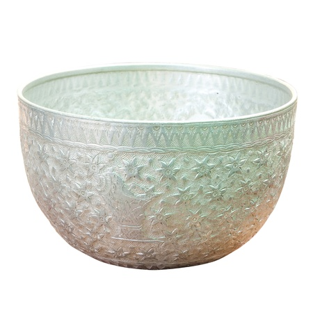 Silver bowl on a white background.