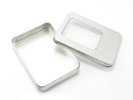 Aluminum box on a white background
