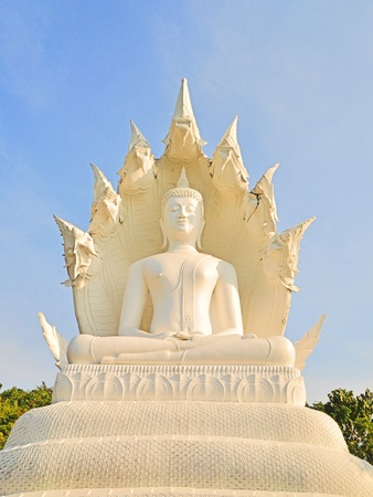Buddha Naga white collar in Lampang, Thailand  Stock Photo - 13092620