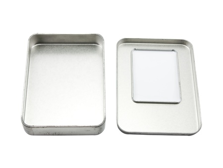 Aluminum box on a white background