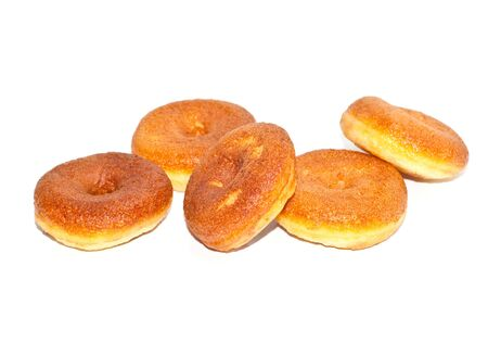 Bread, donuts, isolated white background. photo