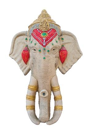 siddhivinayaka: Stucco elephant head.