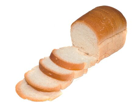 The cut loaf of bread with reflaction isolated on white Stock Photo
