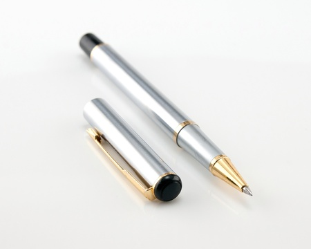 Ball Point Pen Closeup On White background Stock Photo