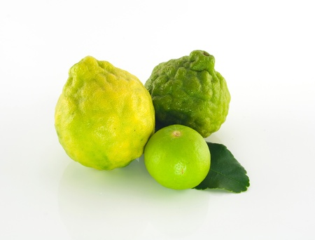 Lime and lemon isolated on a white background