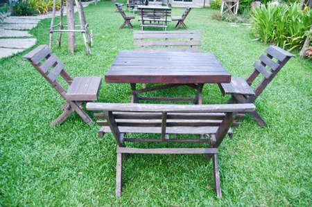 Empty picnic table photo