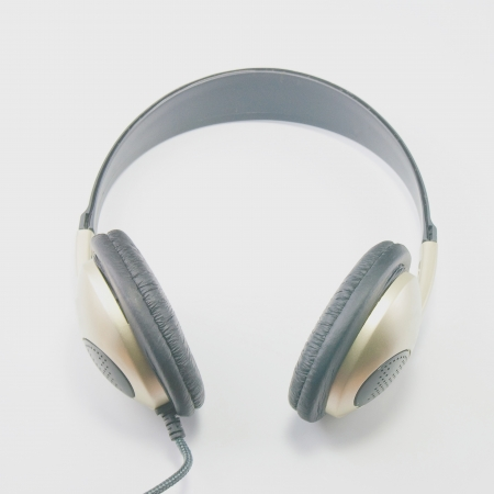 Place the headset on a white background