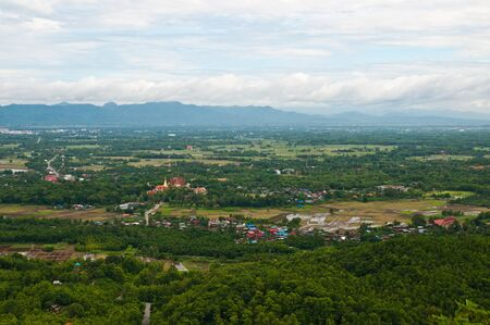 Aerial view over a small town in northern Thailand.