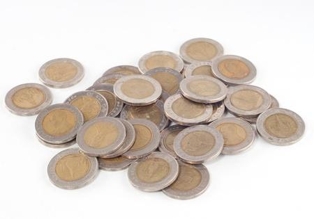 Thai baht coins on a white background. Stock Photo